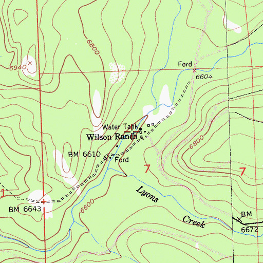 Topographic Map of Wilson Ranch, CA