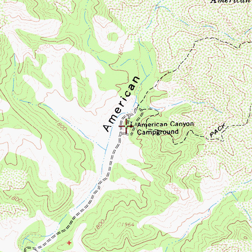 Topographic Map of American Canyon Campground, CA