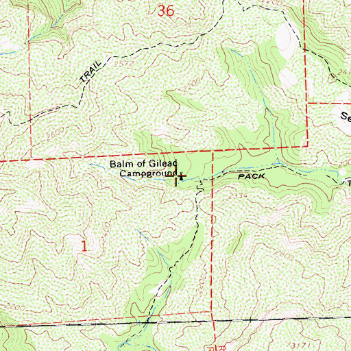 Topographic Map of Bald of Gilead Campground, CA