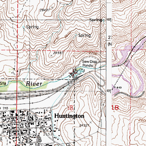 Topographic Map of Huntington Wastewater Treatment Ponds, OR