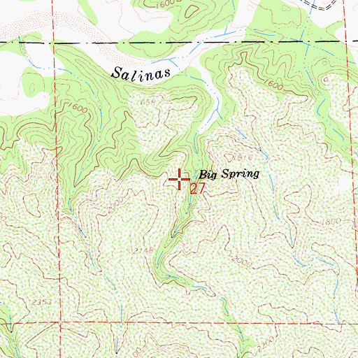 Topographic Map of Big Spring, CA