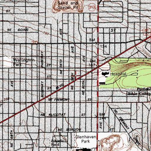 Topographic Map of Gregory Heights Library, OR