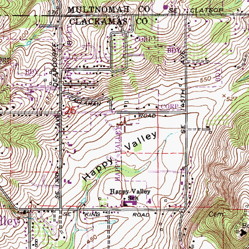 Topographic Map of Happy Valley Public Works, OR
