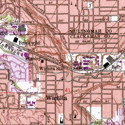 Topographic Map of Milwaukie Public Works, OR