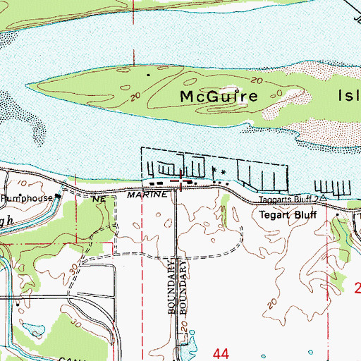 Topographic Map of Ducks Moorage, OR