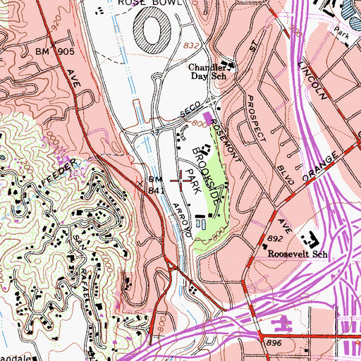 Topographic Map of Brookside Park, CA