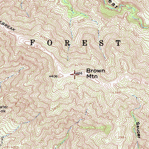 Topographic Map of Brown Mountain, CA