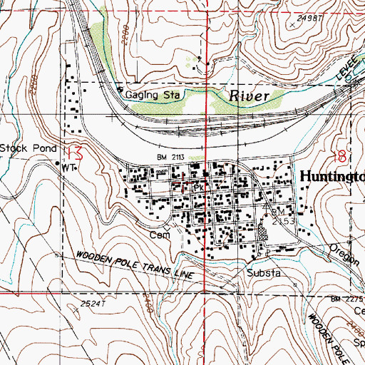 Topographic Map of Huntington City Hall, OR