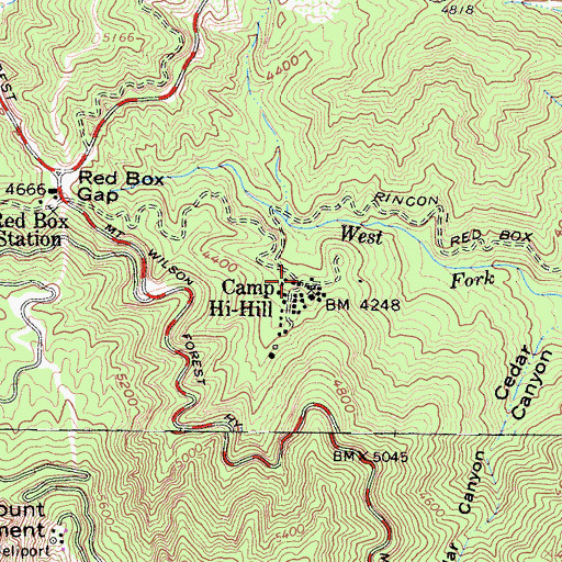Topographic Map of Camp Hi-Hill, CA