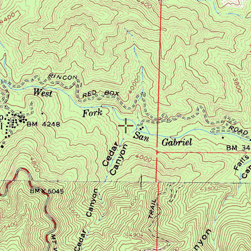 Topographic Map of Cedar Canyon, CA