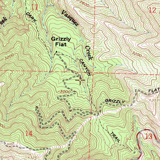 Topographic Map of Dark Canyon Trail, CA