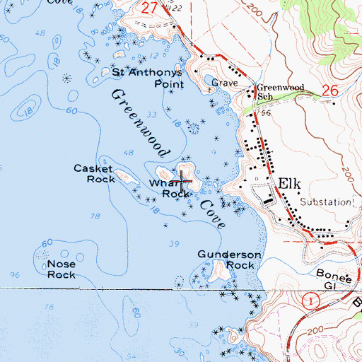 Topographic Map of Wharf Rock East Arch, CA