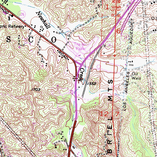 Topographic Map of Elsmere Canyon, CA