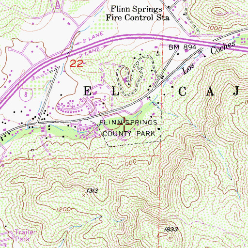 Topographic Map of Flinn Springs County Park, CA