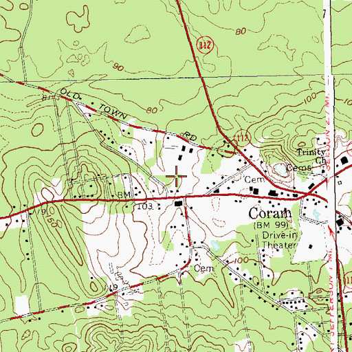 Topographic Map of Coram Post Office, NY