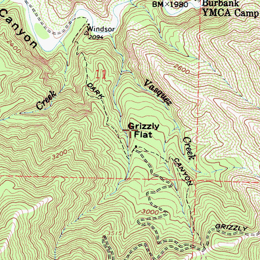 Topographic Map of Grizzly Flat, CA