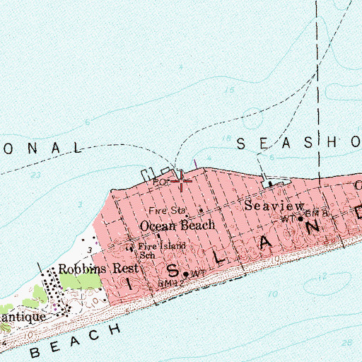 Topographic Map of Fire Island Synagogue, NY