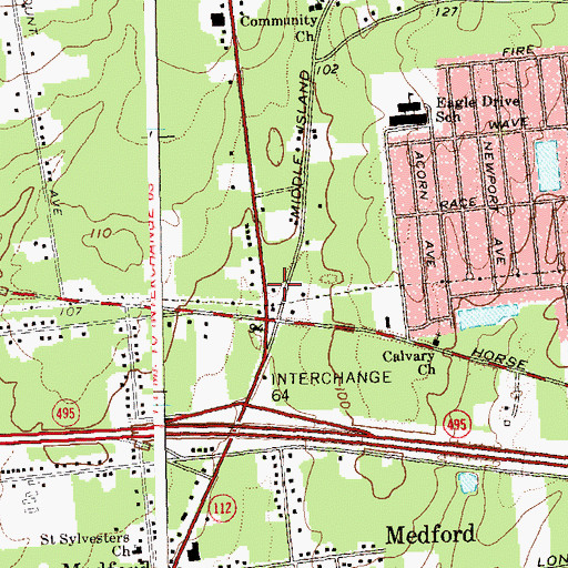 Topographic Map of Medford Assembly of God, NY