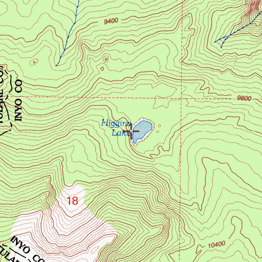 Topographic Map of Higgins Lake, CA