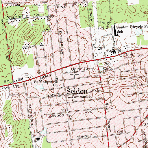 Topographic Map of Selden Fire Station, NY