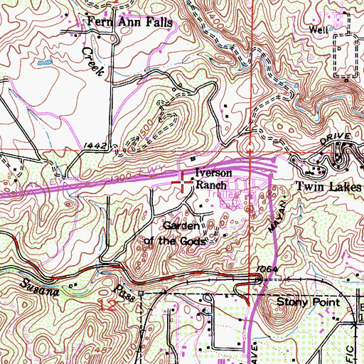 Topographic Map of Iverson Ranch, CA
