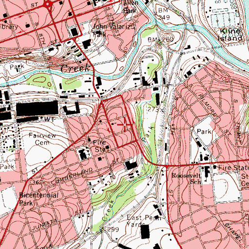 Topographic Map of Good Shepherd Rehabilitation Hospital, PA