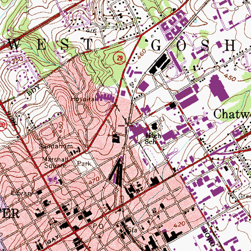 Topographic Map of Lifecare Hospitals of Chester County, PA