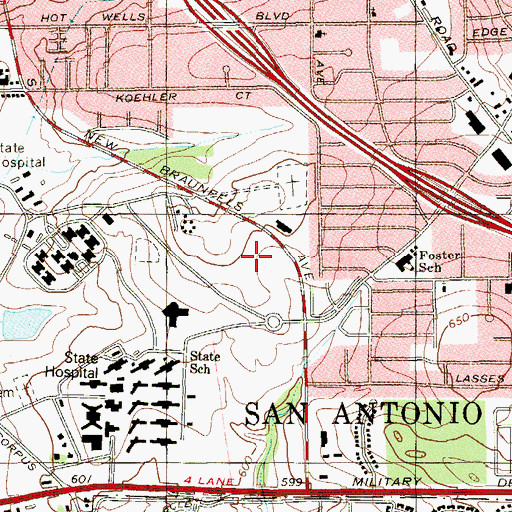 Topographic Map of San Antonio State Hospital, TX