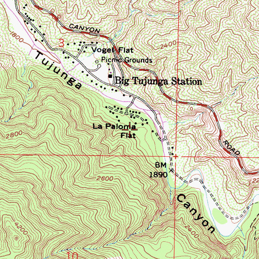 Topographic Map of La Paloma Flat, CA