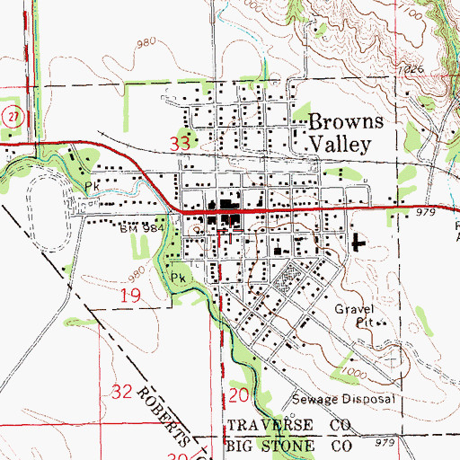 Topographic Map of Browns Valley Ambulance Service, MN