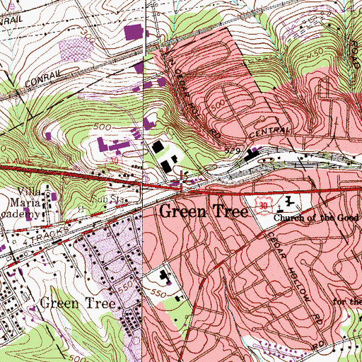 Topographic Map of Transcare Ambulance Service, PA
