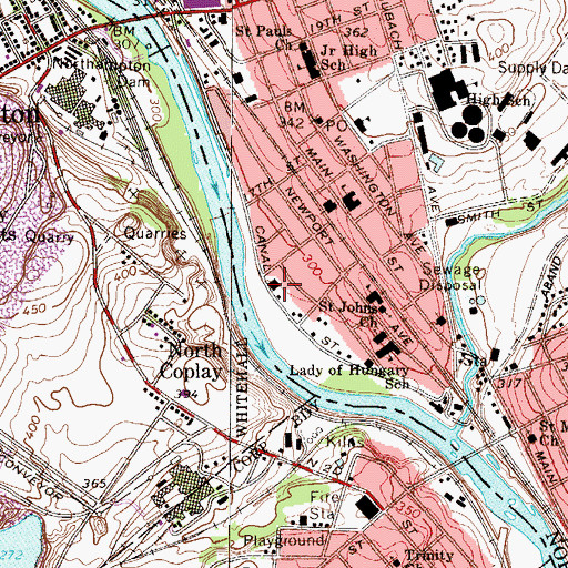 Topographic Map of Northhampton Regional Emergency Medical Services, PA