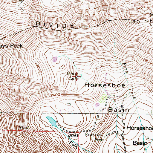 Topographic Map of Grays Lake, CO