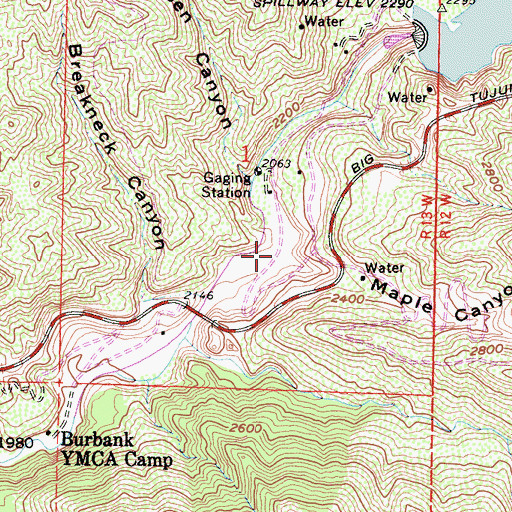 Topographic Map of Maple Canyon, CA