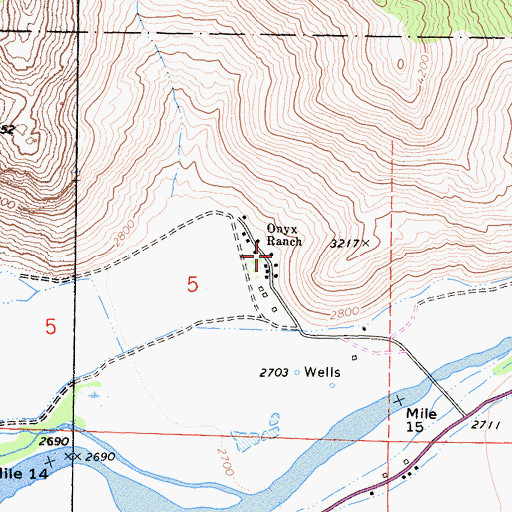 Topographic Map of Onyx Ranch, CA