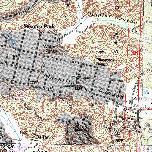 Topographic Map of Placeritos Ranch, CA