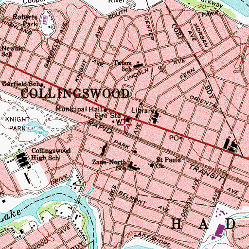 Topographic Map of Collingswood Police Department, NJ