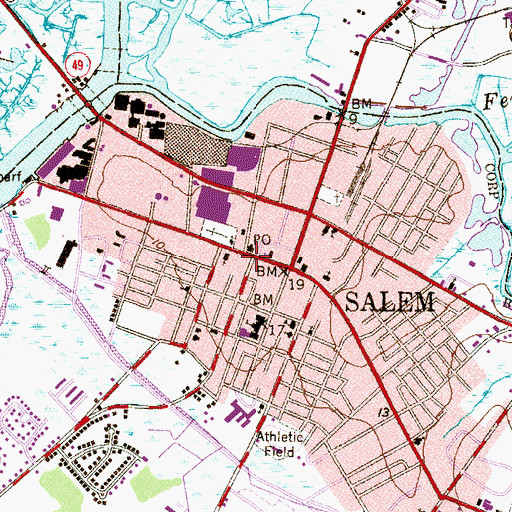 Topographic Map of Salem Police Department, NJ