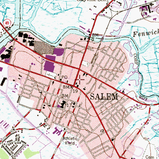 Topographic Map of Salem County Sheriff, NJ