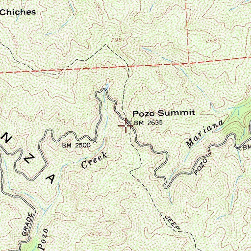 Topographic Map of Pozo Summit, CA