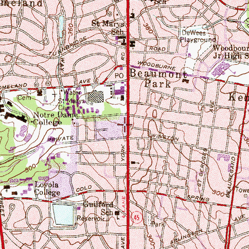 Topographic Map of Loyola College in Maryland Department of Public Safety, MD