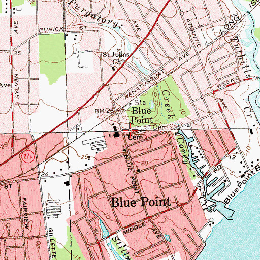 Topographic Map of Blue Point Fire District, NY