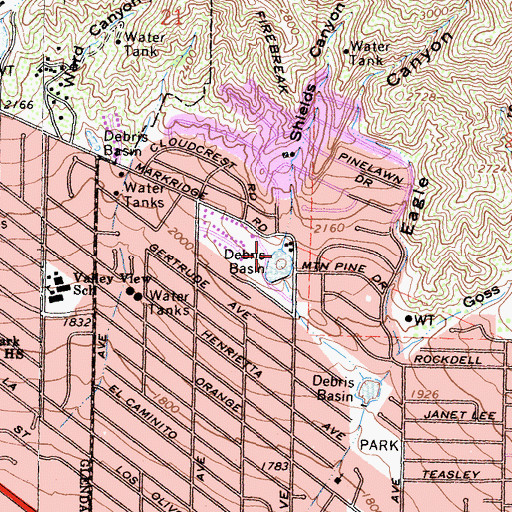 Topographic Map of Shields Canyon, CA
