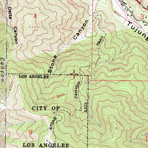 Topographic Map of Stone Canyon Trail, CA