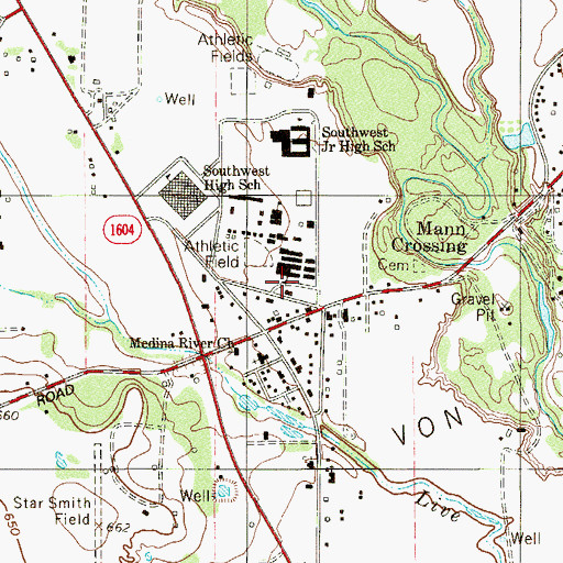 Topographic Map of Southwest Independent School District Police Department, TX