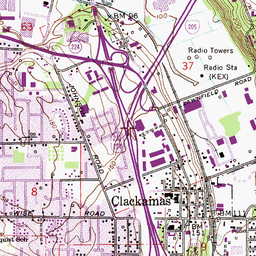 Topographic Map of Clackamas County Sheriff Public Safety Training Center, OR