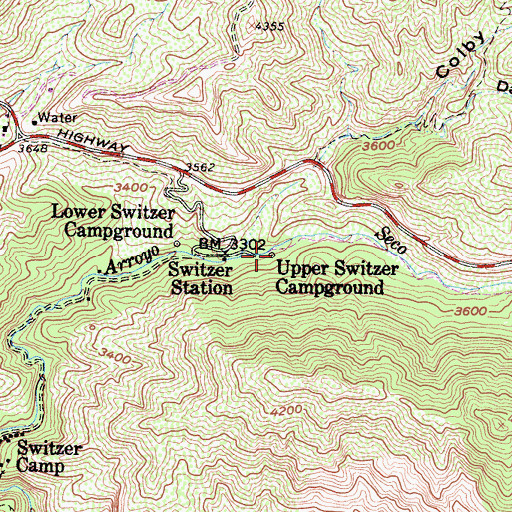 Topographic Map of Upper Switzer Campground, CA