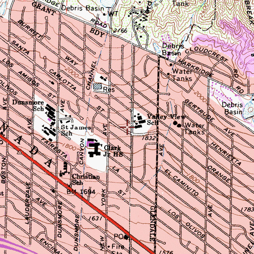Topographic Map of Valley View School, CA