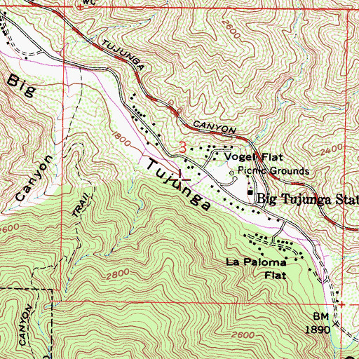 Topographic Map of Vogel Canyon, CA