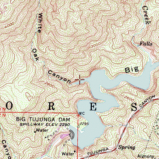 Topographic Map of White Oak Canyon, CA
